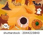 halloween gingerbread cookies.... | Shutterstock .eps vector #2044223843