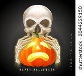 happy halloween 3d realistic... | Shutterstock .eps vector #2044229150