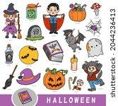 colorful set of halloween... | Shutterstock .eps vector #2044236413