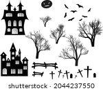 halloween spooky black... | Shutterstock .eps vector #2044237550