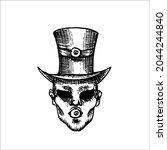 head of an eyeless man in a top ... | Shutterstock .eps vector #2044244840