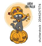 cute black cat in a witch hat... | Shutterstock .eps vector #2044247576