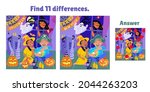 find 11 differences. happy... | Shutterstock .eps vector #2044263203