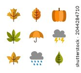 9 sets of autumn icons in flat... | Shutterstock .eps vector #2044284710