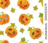 vector pumpkin pattern in the... | Shutterstock .eps vector #2044323179