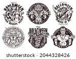 halloween night vintage labels... | Shutterstock .eps vector #2044328426