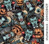 happy halloween vintage... | Shutterstock .eps vector #2044328429