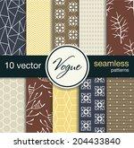 10 fashionable seamless vector... | Shutterstock .eps vector #204433840