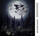 happy halloween banner with... | Shutterstock .eps vector #2044343303