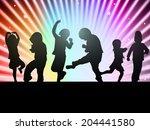 children silhouettes | Shutterstock .eps vector #204441580