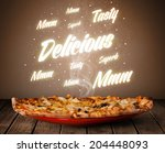 pizza with delicious and tasty... | Shutterstock . vector #204448093