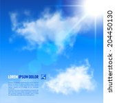 Bright blue sky with brilliant Sun shining from top right corner, vector image   - stock vector