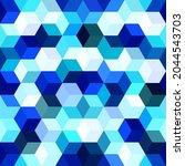 hexagon grid cyan seamless...