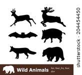 set of wild animals  bat  boar  ...   Shutterstock .eps vector #204454450