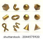 realistic 3d golden geometric...   Shutterstock .eps vector #2044575920