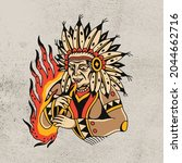 primitive people and fire icon | Shutterstock .eps vector #2044662716
