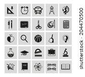 set of school icons on gray... | Shutterstock .eps vector #204470500