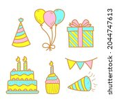 cute birthday party elements...   Shutterstock .eps vector #2044747613