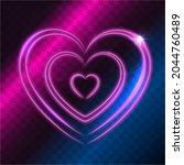 light glowing heart on dark...   Shutterstock .eps vector #2044760489