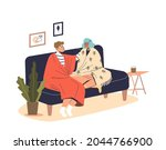 young couple sit on couch...   Shutterstock .eps vector #2044766900