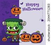 happy halloween. cartoon cute...   Shutterstock .eps vector #2044771283