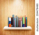 books on wooden shelf eps10... | Shutterstock .eps vector #204478480