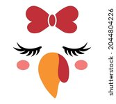 beautiful turkey face with bow  ... | Shutterstock .eps vector #2044804226