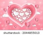 a heart shape. paper art style. ... | Shutterstock .eps vector #2044855013
