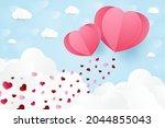 a heart shape. paper art style. ... | Shutterstock .eps vector #2044855043