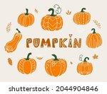pumpkin vector illustration in... | Shutterstock .eps vector #2044904846