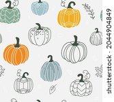 pumpkin seamless pattern vector ... | Shutterstock .eps vector #2044904849