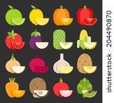 vegetable icon set  vector | Shutterstock .eps vector #204490870