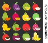 tropical fruit icon set  vector | Shutterstock .eps vector #204490873