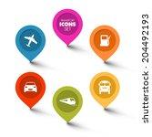 set of round flat transport... | Shutterstock .eps vector #204492193