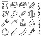 barbecue and grill icons set on ... | Shutterstock . vector #2044934696
