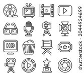 cinema and movie icons set on... | Shutterstock . vector #2044934699