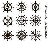 nine black vector images marine ... | Shutterstock .eps vector #204496684
