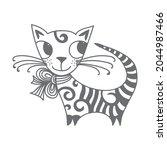 cute cartoon cat. vector... | Shutterstock .eps vector #2044987466