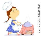 little girl carries a cart with ...   Shutterstock . vector #204499246