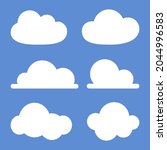 set of cloud icons on blue...