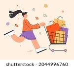 happy woman enjoying shopping ...   Shutterstock .eps vector #2044996760