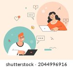 online chat  video conference...   Shutterstock .eps vector #2044996916