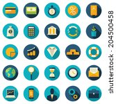Set of flat design vector colored round icons for finance, money, banking services | Shutterstock vector #204500458