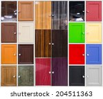 Stock photo detail of colorful doors with nice handles 204511363
