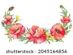 red poppy wild flowers demi...   Shutterstock . vector #2045164856