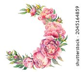 pink peony wreath for greeting...   Shutterstock . vector #2045164859