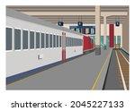 passenger train stops at... | Shutterstock .eps vector #2045227133