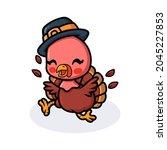 Cute Baby Turkey Cartoon In...
