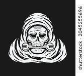 skull bite the wrench. skeleton ... | Shutterstock .eps vector #2045255696