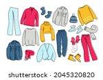 warm clothing set. winter...   Shutterstock .eps vector #2045320820